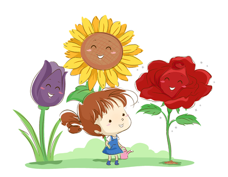 Illustration of a Kid Girl Holding a Watering Can Surrounded by Flower Mascots. Tulip, Sunflower and Rose