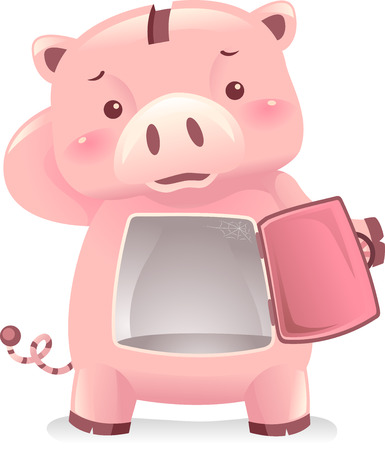 Illustration of a Sad Piggy Bank Robot with Nothing Inside