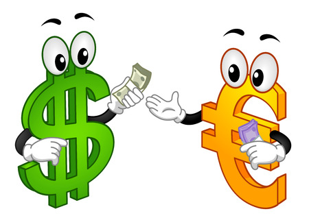 Illustration of a Dollar Mascot Exchanging a Wad of Cash with a Euro Mascot