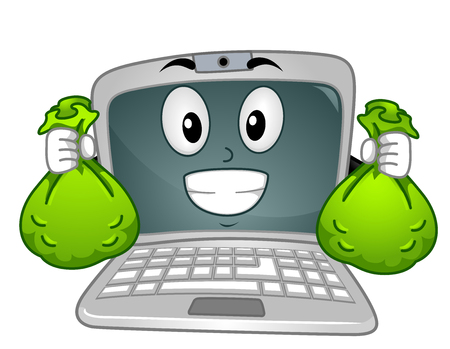 Illustration of a Happy Laptop Mascot Holding Green Bags of Cash Stock Photo
