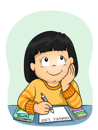 Illustration of a Kid Girl Thinking and Writing about Her Travel List