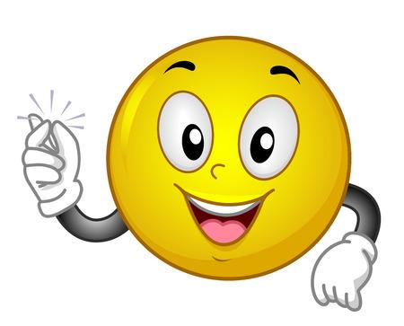Illustration eines Smiley Maskottchen streichelte seinen Finger Standard-Bild