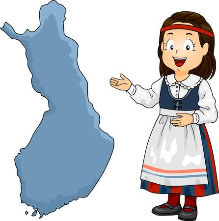 핀란드 국립 제복을 입은 키즈 소녀의 그림 핀란드지도 제시 스톡 콘텐츠