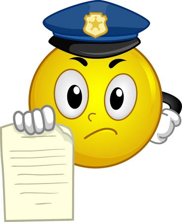 Illustratie van een politie-smiley mascotte met een overtreding ticket