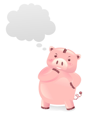 Illustration of a Piggy Bank Robot with a Blank Thinking Cloud