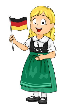 Illustration of a Kid Girl Wearing German National Costume and Holding a Flag of Germany
