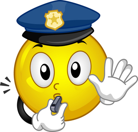 Illustration of a Smiley Police Mascot Using a Whistle and Gesturing Stop