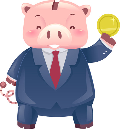 Illustration of a Piggy Bank Robot Wearing Business Attire and Holding a Coin