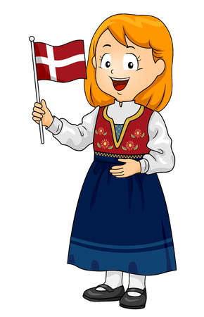 Illustration of a Kid Girl Wearing a Danish National Costume and Holding the Flag of Denmark