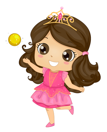 Illustration of a Kid Girl Princess Wearing a Crown and Playing with a Golden Ball