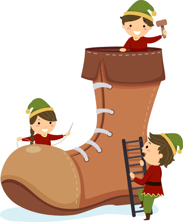 Illustration of Stickman Kids Elf with a Big Shoe, Holding a Needle, Hammer and Climbing Up a Ladder Stock Photo