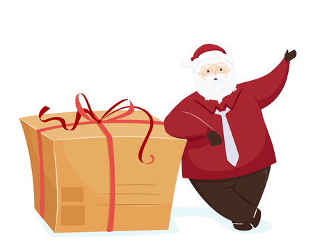 Illustration of a Modern Santa Presenting and Standing Beside a Big Gift Box