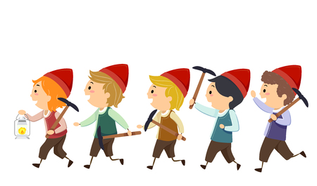 Illustration of Stickman Kid Boys Dwarf Holding Miner Pick and a Lamp