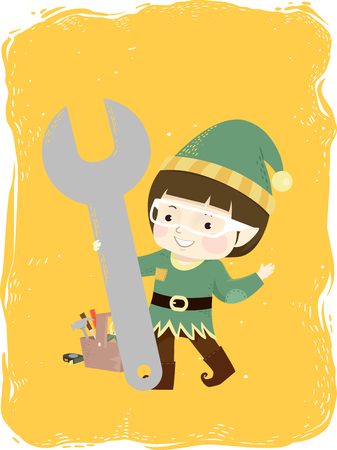 Illustration of a Kid Boy Elf Wearing Goggles and Holding a Big Wrench with the rest of Toolbox at the Back