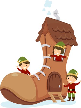Illustration of Stickman Kids Elf with a Big Brown Shoe House Stock Photo