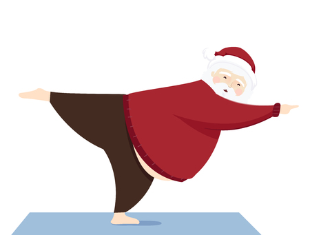 Illustration of a Modern Santa Claus in a Warrior Yoga Pose Imagens