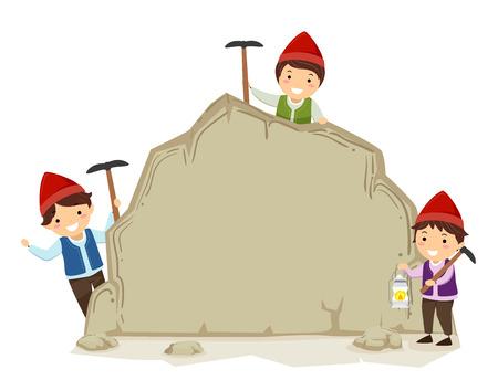 Illustration of Stickman Kid Boys Dwarf Holding Picks and Presenting a Board Rock Stock Photo