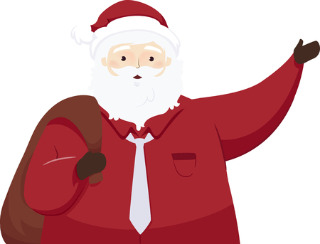 Illustration of a Modern Santa Claus Waving Hello and Carrying a Bag Full of Gifts Фото со стока