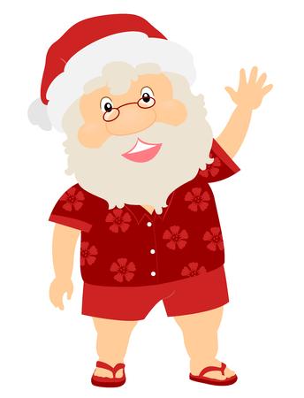Illustration of a Summer Christmas Santa Claus Waving His Hand