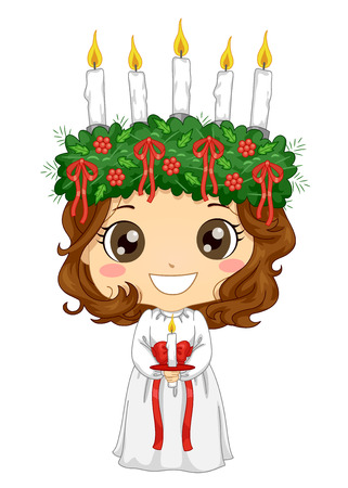 Illustration of a Kid Girl Wearing a Little Saint Lucia Costume Holding a Candle