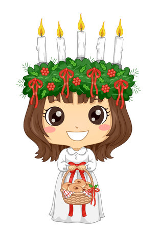 Illustration of a Kid Girl Wearing Little Saint Lucia Carrying a Basket Full of Saffron Buns
