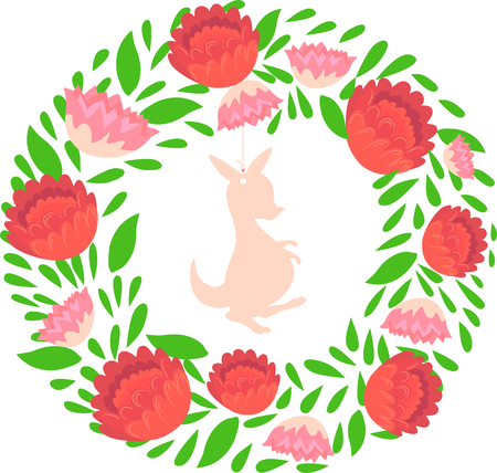 Illustration of a Native Australian Floral Christmas Wreath with Kangaroo in the Middle. Protea Flowers.