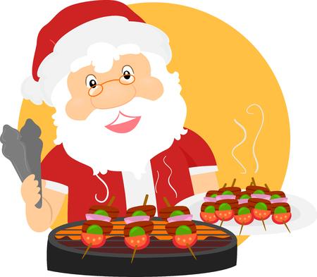 Illustratie van de Zomer Santa Claus Grilling Barbecue voor Kerstmis
