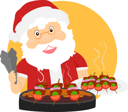 Illustration of a Summer Santa Claus Grilling Barbecue for Christmas
