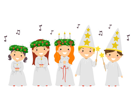 Illustration of Stickman Kids Singing Carols During the Feast Day of Saint Lucy