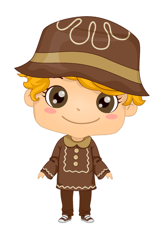 Illustration of a Kid Boy Wearing a Gingerbread Costume in Brown for Saint Lucia Feast