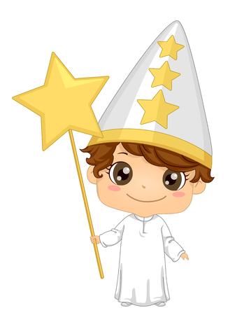 Illustration of a Kid Boy Wearing a Star Boy Costume for Saint Lucia Feast