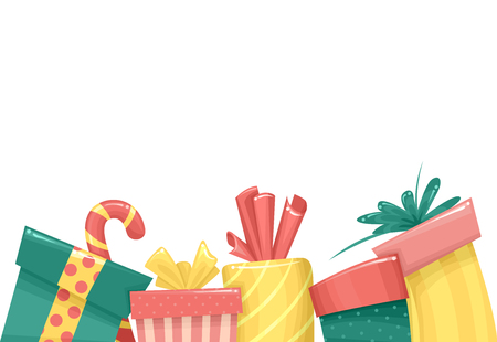 Illustration of Several Christmas Gifts Border in Green, Red and Yellow Stock Photo