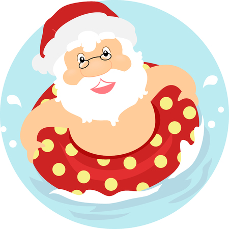 Illustration of a Summer Santa Claus with a Floater on Water