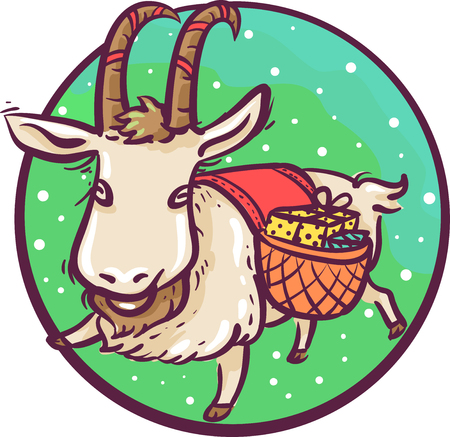 Illustration of a Yule Goat Icon Carrying a Basket of Gifts