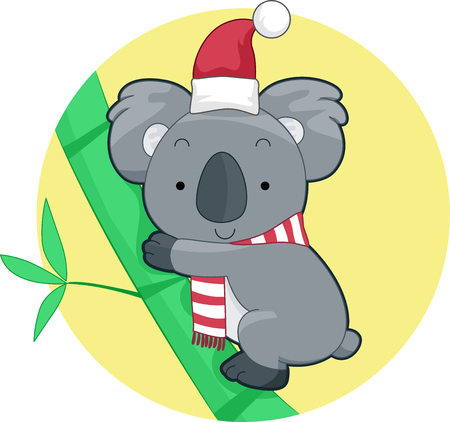 Illustration of a Koala Wearing a Santa Hat and a Scarf for Christmas in Australia