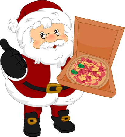 Illustration of Santa Claus Holding a Box of Pizza Showing an Okay 스톡 콘텐츠