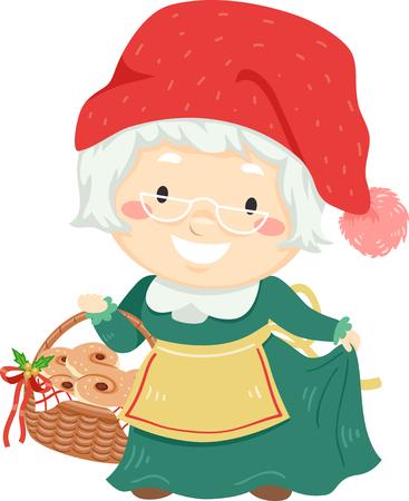 Illustration of a Senior Woman Wearing Mrs Santa Claus Costume Holding a Basket Full of Saffron Buns Imagens