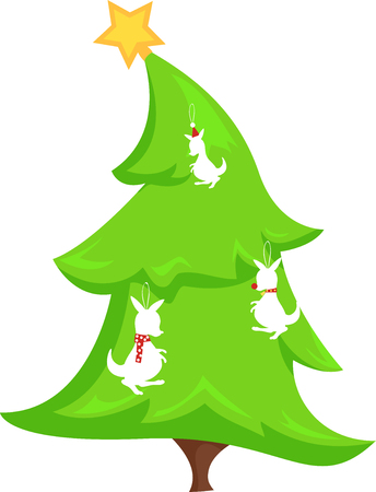 Illustration of a Green Christmas Tree with a Kangaroo Decorations Hanging