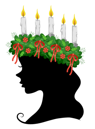 Illustration of a Girl Silhouette Wearing a Saint Lucia Crown for the Saint Lucia Feast Stock Photo
