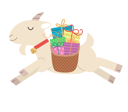 Illustration of a Yule Goat Carrying a Basket Full of Gifts Jumping