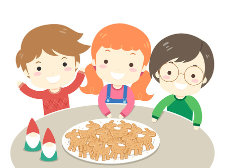 Illustration of Kids with Yule Goat Shaped Gingerbread on Plate and a Couple of Nisse