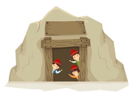 Illustration of Stickman Kids Dwarf Waving by the Entrance of a Mine Banco de Imagens