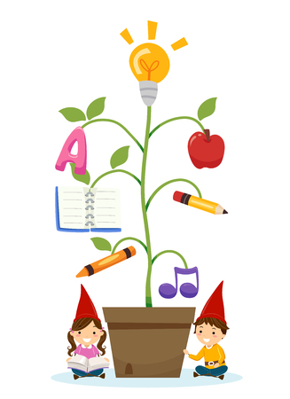 Illustration of Stickman Kids Gnome Reading Beside a Potted Plant of Education Objects Stock Photo