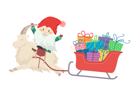 Illustration of a Jul Tomte Riding a Yule Goat Pulling a Red Sleigh Full of Gifts Stock Photo
