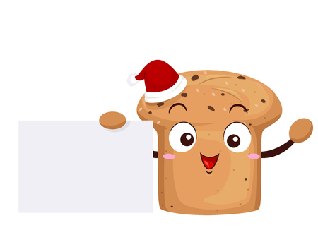 Illustration of a Panettone Bread Mascot with a Santa Hat and Holding a Blank Board