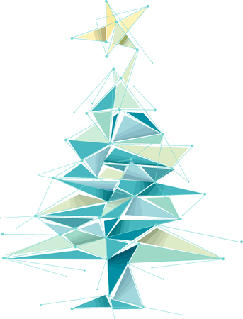 Illustration of a Geometric Christmas Tree Design in Blue and Yellow Stok Fotoğraf