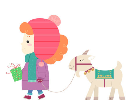 Illustration of a Kid Girl with a Yule Goat, Carrying a Gift