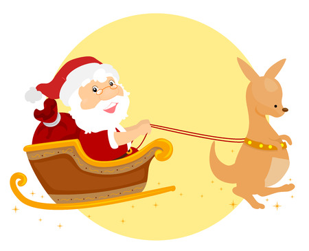 Illustration of a Summer Christmas Santa Claus Riding a Kangaroo Sleigh Stok Fotoğraf