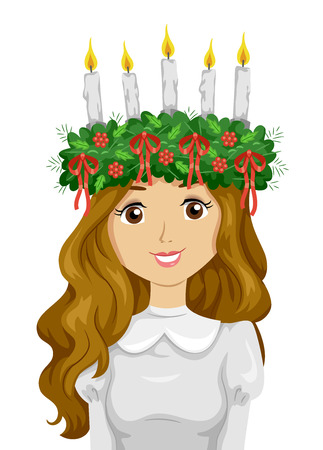Illustration of a Teen Girl Wearing Saint Lucia Crown with Candles and Ribbons