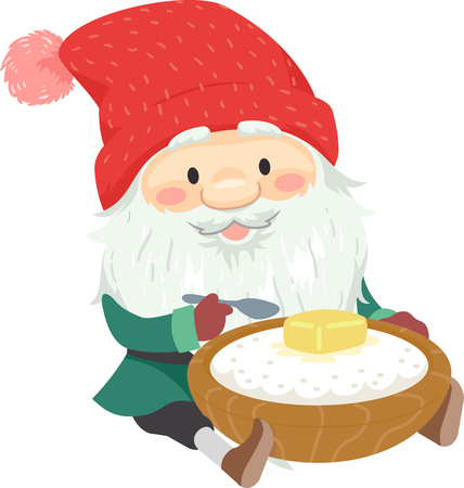 Illustration of a Jul Tomte with a Bowl of Porridge with a Pat of Butter on Top